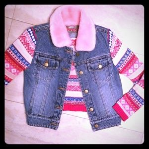 Adorable Fall Jean Jacket with sweater back/sleeve